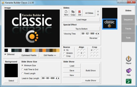 The first screen shown when you start up Karaoke Builder Classic. If you click 'Build Show' you will create a slideshow which draws the Karaoke Builder Classic logo using the selected special effect, in this case 'Top to Bottom'.